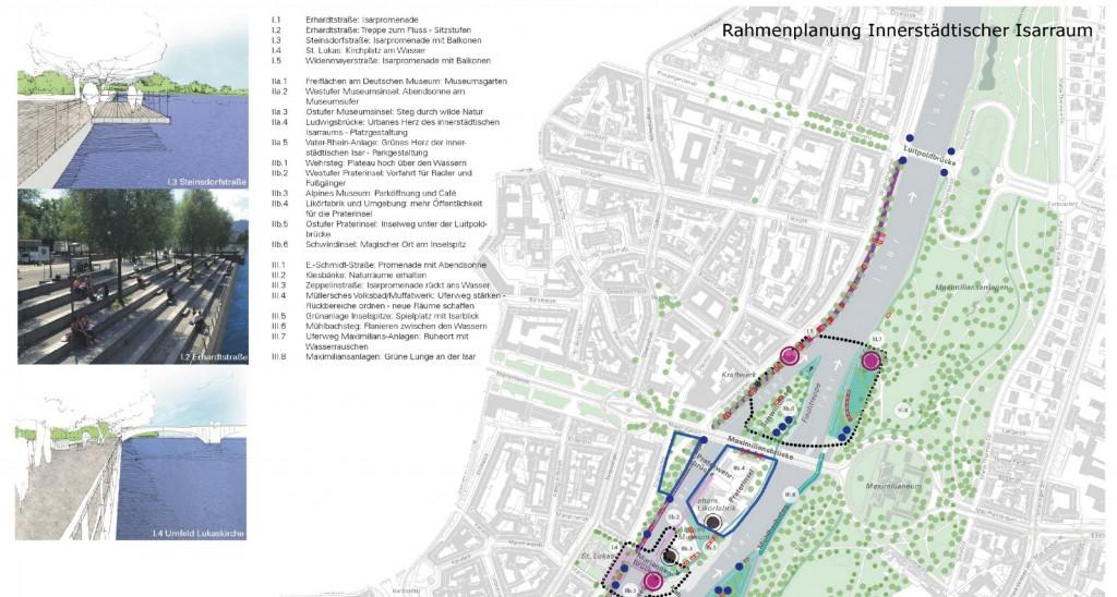 """Ausschnitt aus der """"Rahmenplanung innerstädtischer Isarraum"""" (Abb.: mahl-gebhard-konzepte, München, mit yellow z, Berlin, im Auftrag der Landeshauptstadt München)"""