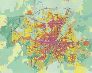 Klimafunktionskarte mit Luftströmungen (blaue Pfeile) in der heißesten Nacht | Grafik:LH München, Referat für Gesundheit und Umwelt 2014