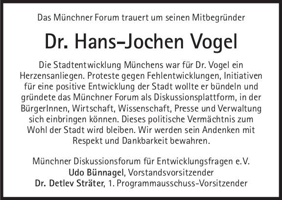 Das Münchner Forum trauert um seinen Mitbegründer Dr. Hans-Jochen Vogel