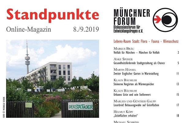Lebens-Raum Stadt: Flora – Fauna – Klimaschutz [Standpunkte 08./09.2019]